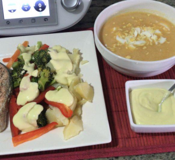 Menú completo: Crema rápida de verduras y Salmón con verduras al vapor