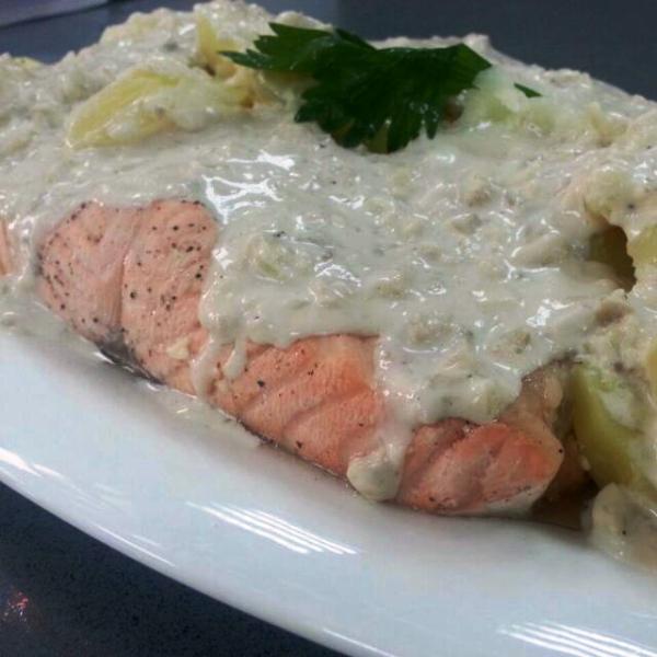 Salm n con salsa de champi ones y patatas general blog - Salmon con champinones ...