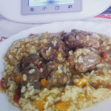 Carrilla con arroz redondo al cream de Jerez con Thermomix® .