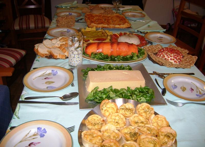 Aperitivos del almuerzo de Navidad