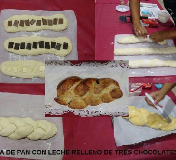 TRENZA DE PAN DE LECHE RELLENA A LOS TRES CHOCOLATES CON Thermomix®